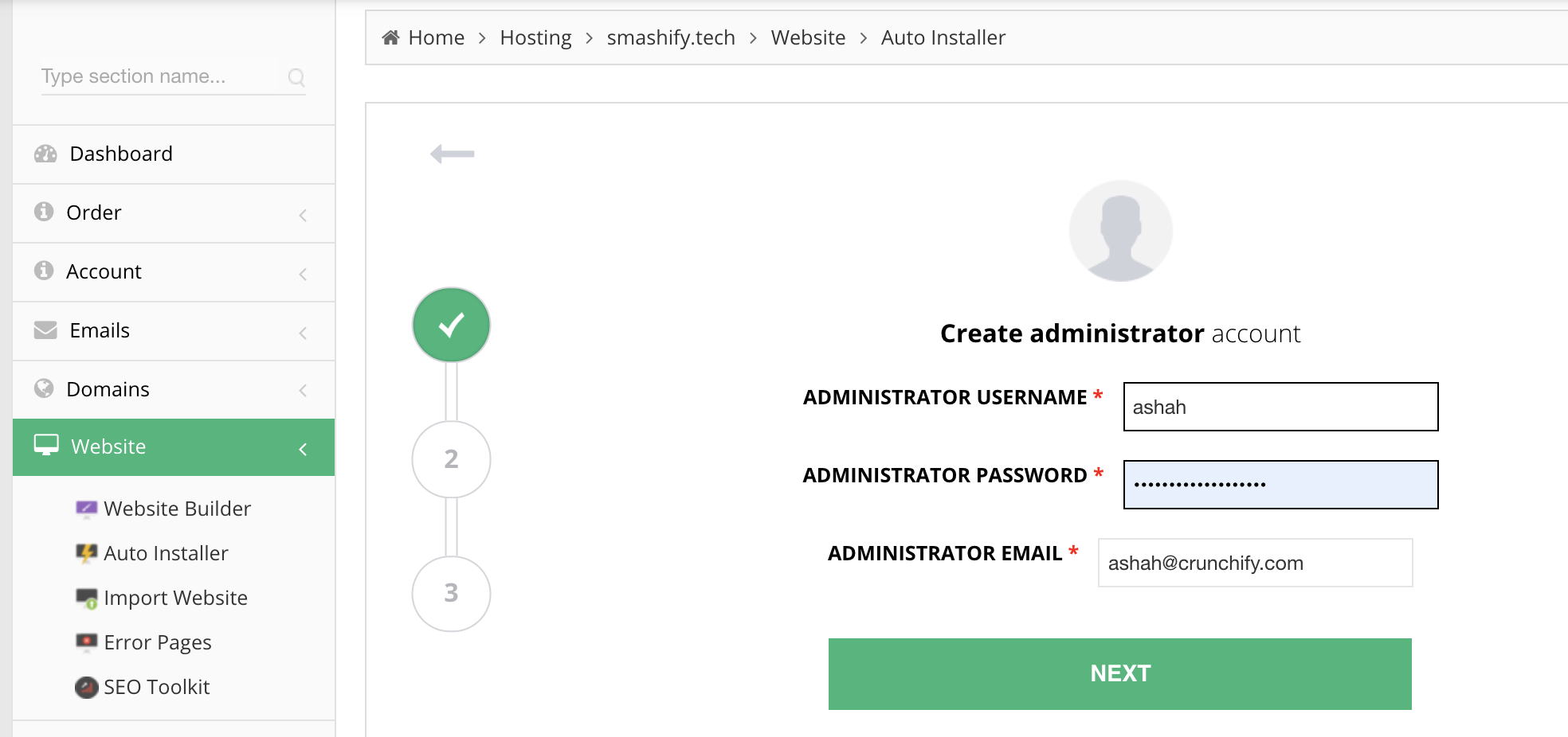 Hostinger WordPress installer - Provide username and email