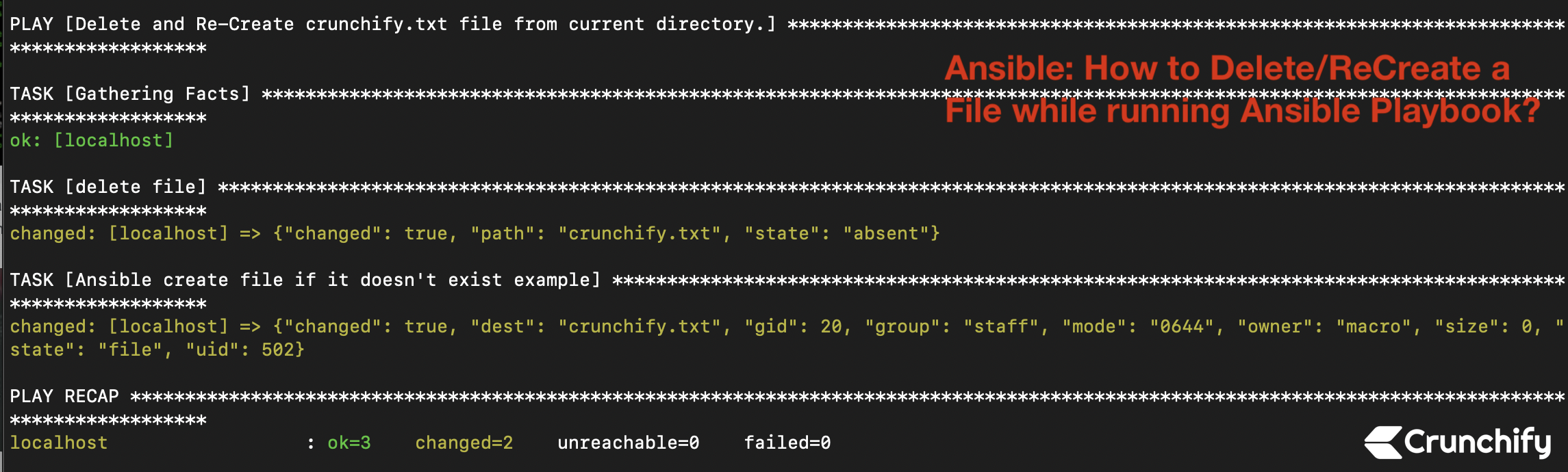 How to Delete/ReCreate a File while running Ansible Playbook?