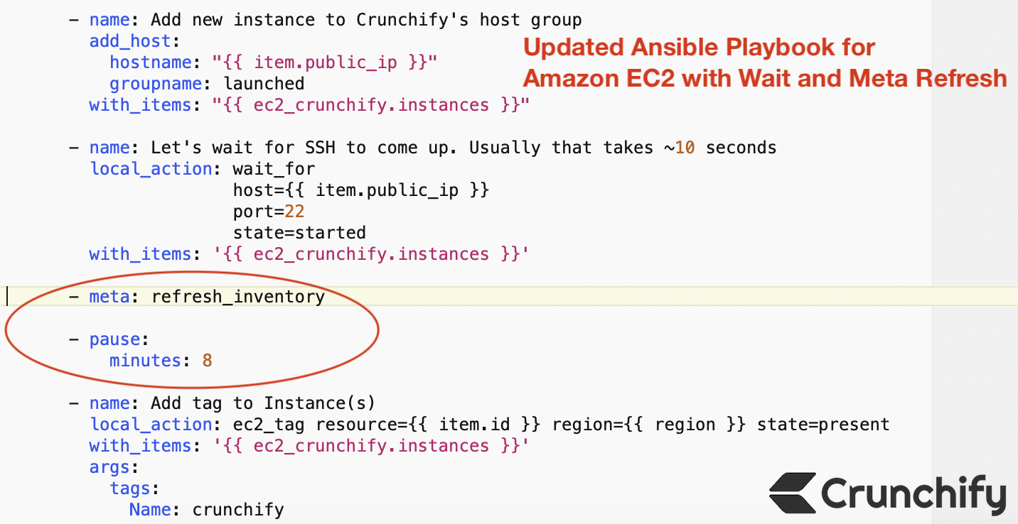 Updated Ansible Playbook for Amazon EC2 with Wait and Meta Refresh - Crunchify Tips
