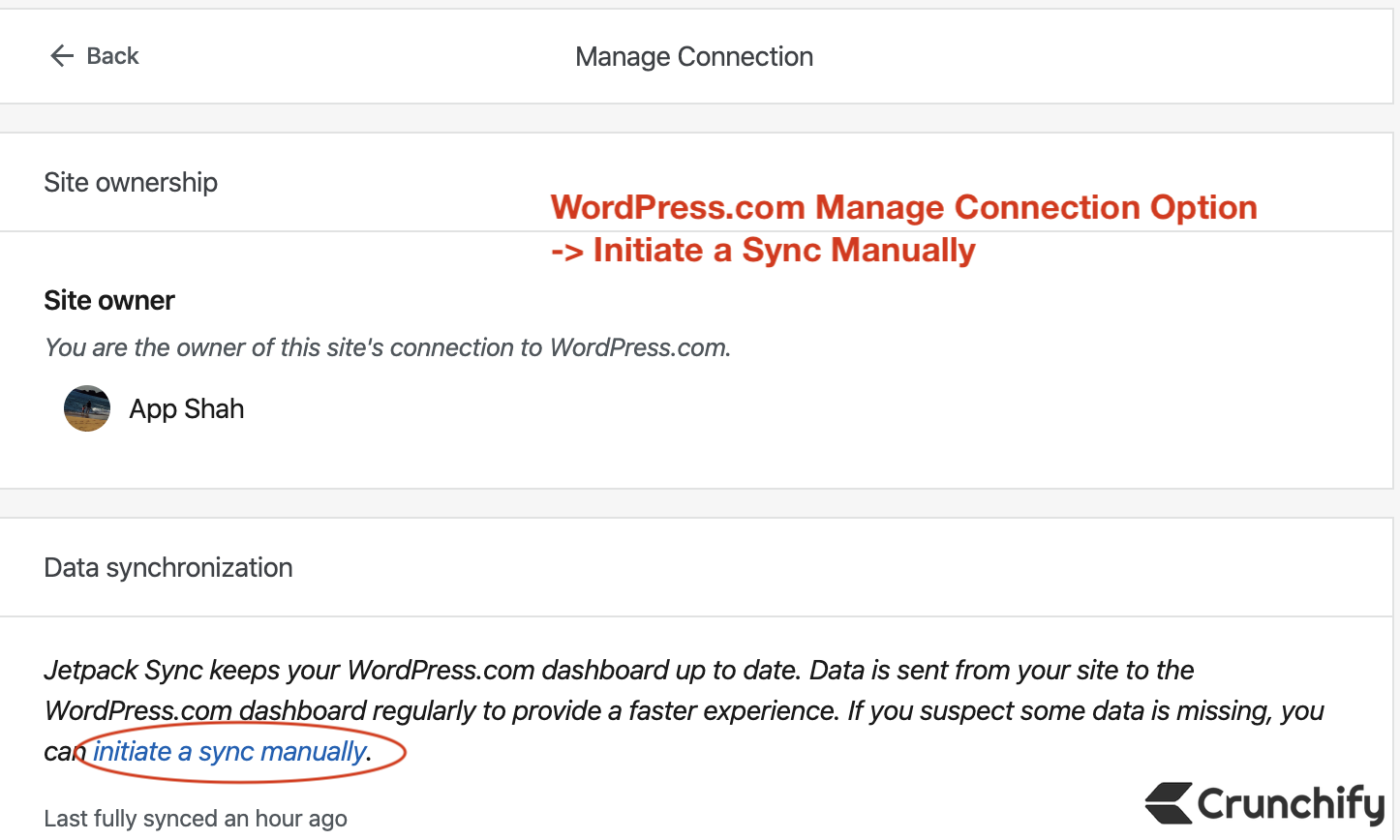WordPress.com Manage Connection Option - Initiate a Sync Manually