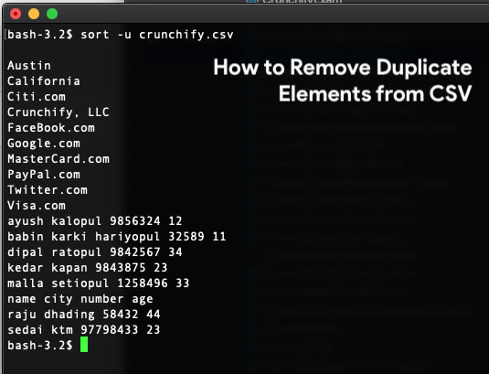 How to Remove Duplicate Elements from CSV File in Linux
