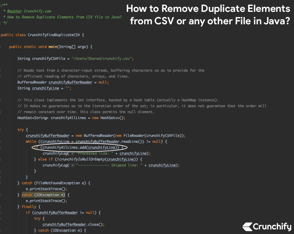 How to Remove Duplicate Elements from CSV or any other File in Java