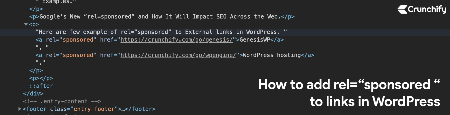 """How to add rel=""""sponsored"""" to all links in WordPress"""