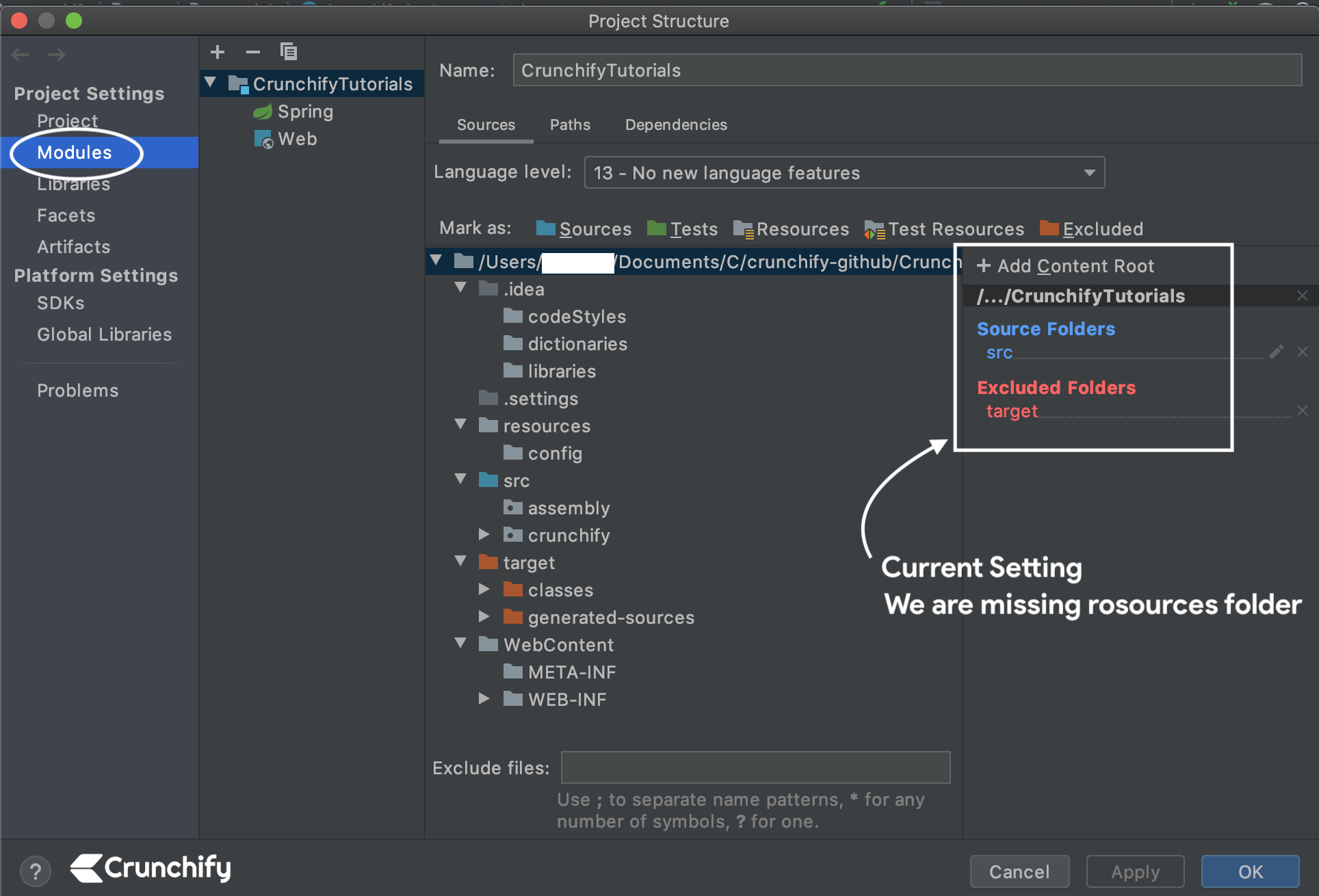 IntelliJ Click on Modules Tab and check added resources - Crunchify