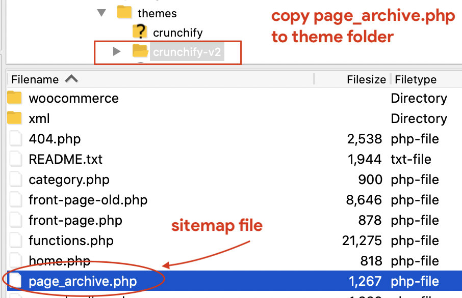 Copy page_archive.php to theme folder