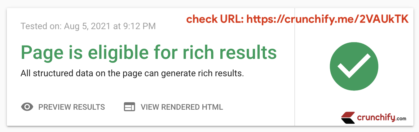 Crunchify - Genesis themes - Google Page is eligible for rich results