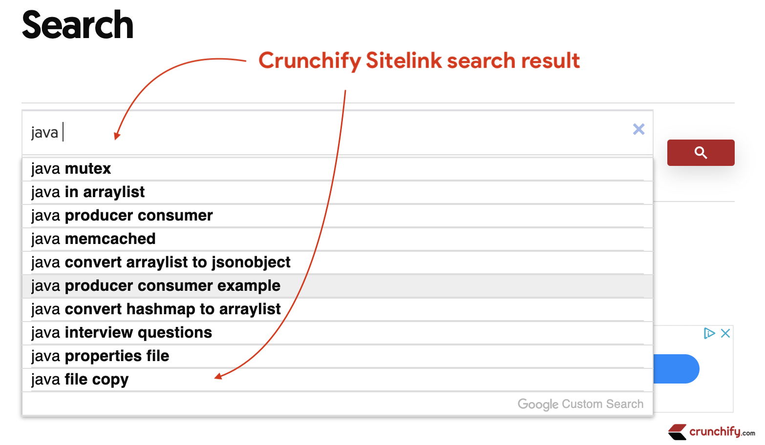Crunchify Sitelink search result