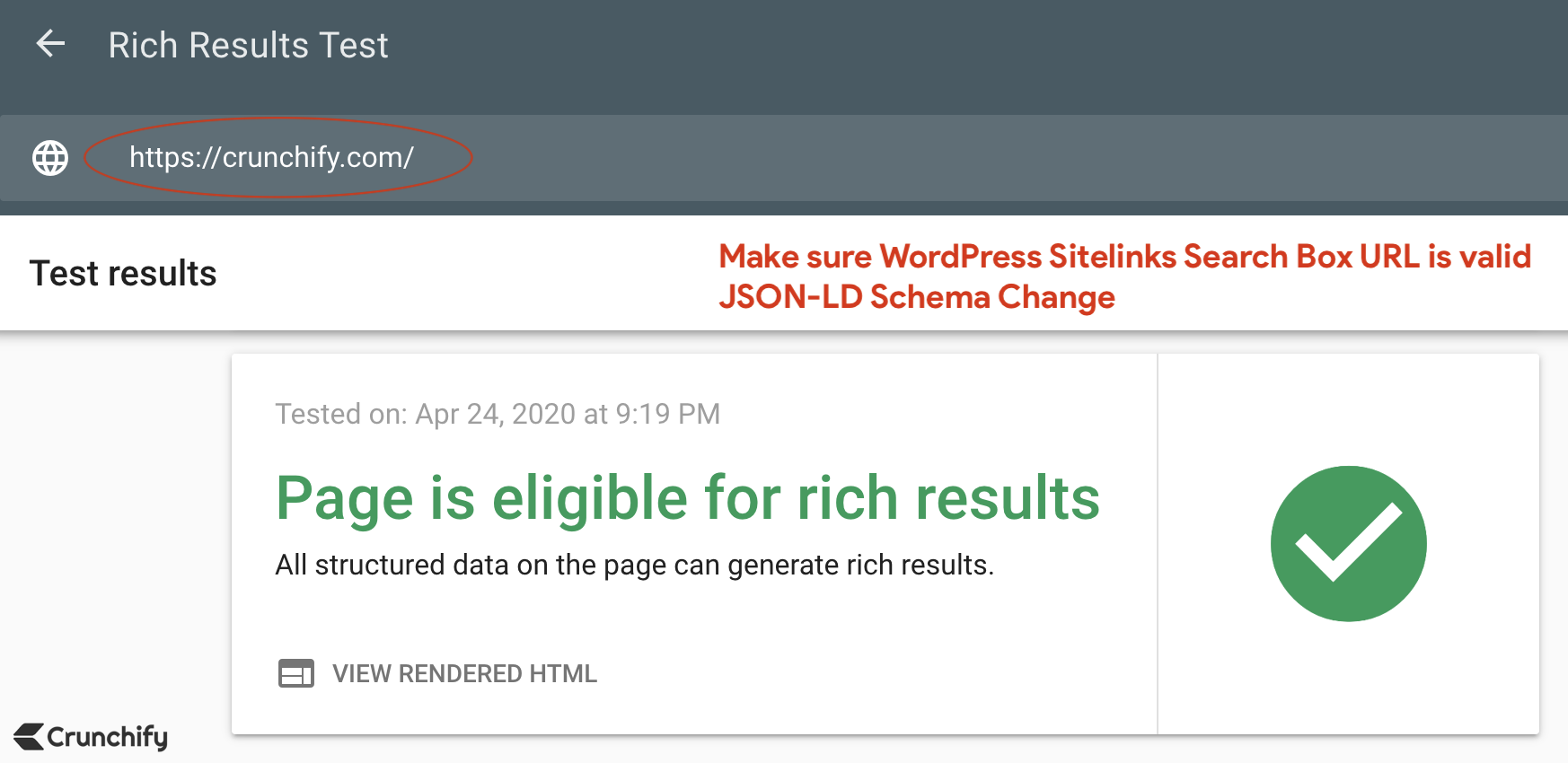 Google - Page is eligible for rich results