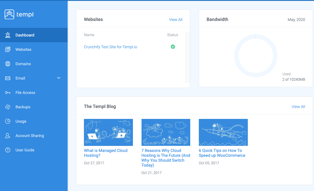 Templ.io Dashboard Screenshot