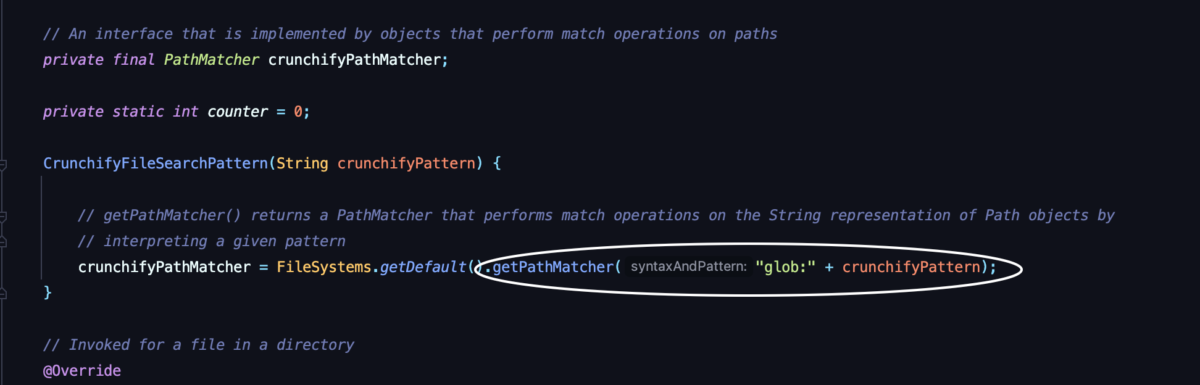 File Search Pattern Utility using java.nio.file package