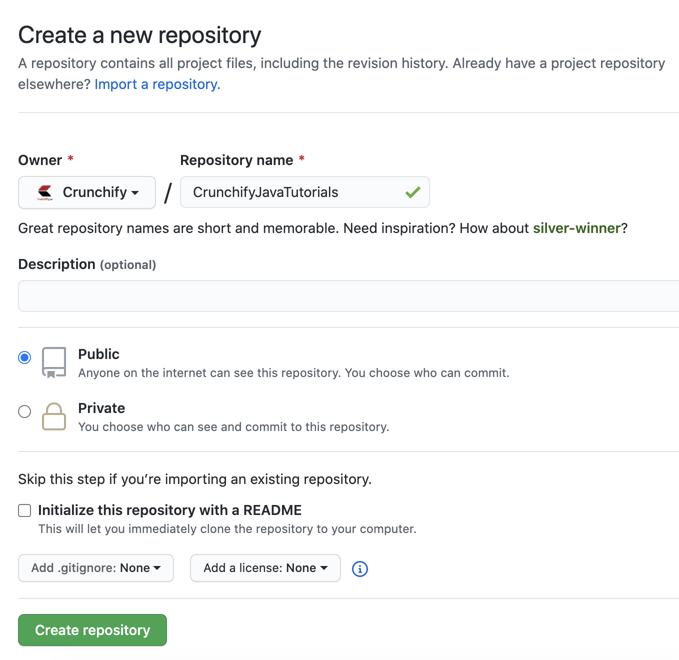 Go to Github -> Create public repository