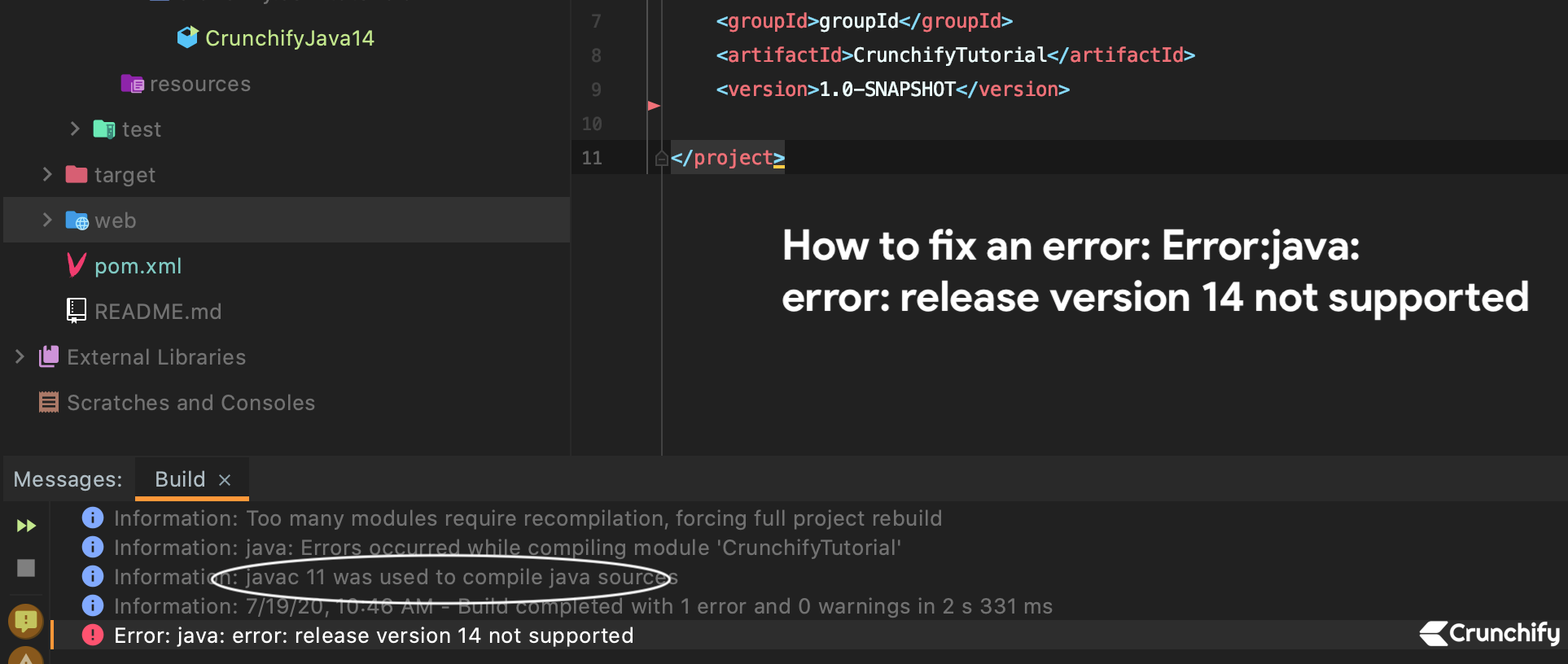 How to fix an error Error java release version 14 not supported