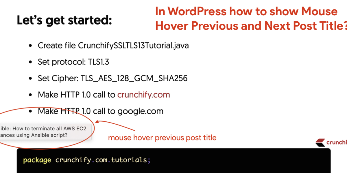 In WordPress how to show Mouse Hover Previous and Next Post Title