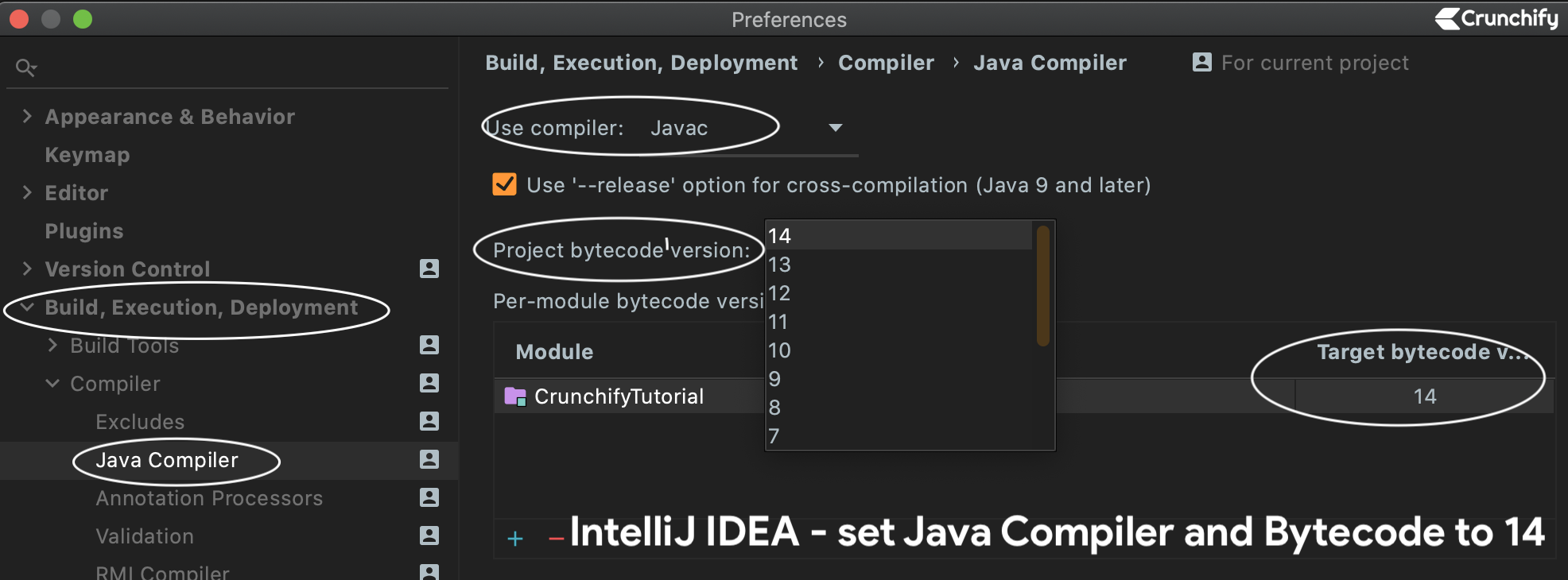 IntelliJ IDEA - set Java Compiler and Bytecode to 14