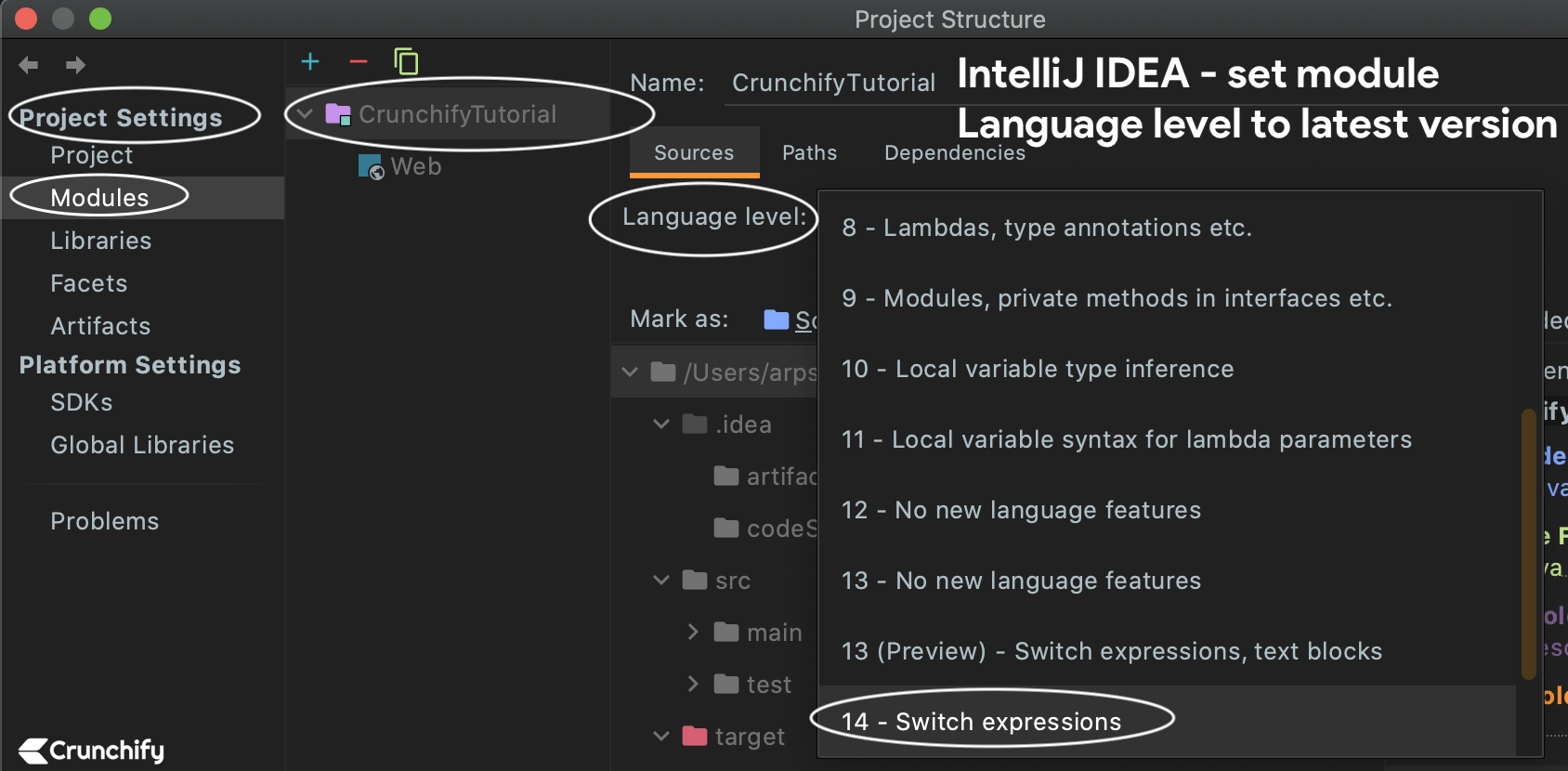 IntelliJ IDEA - set module Language level to latest version