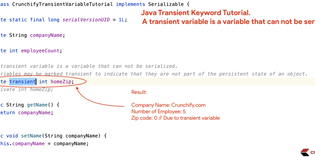 Java Transient Keyword Tutorial - Crunchify