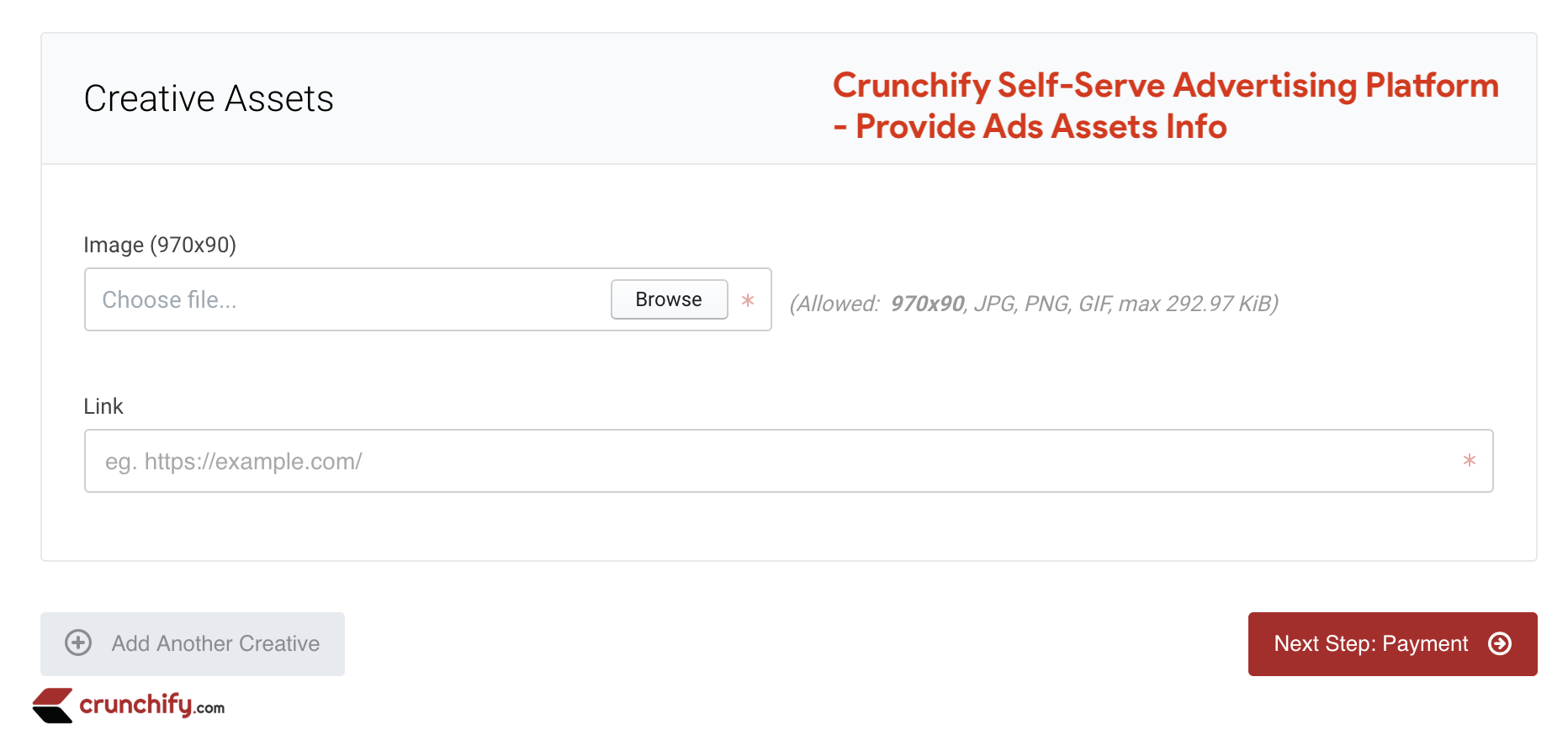 Crunchify Self-Serve Advertising - Ads Assets including Banner