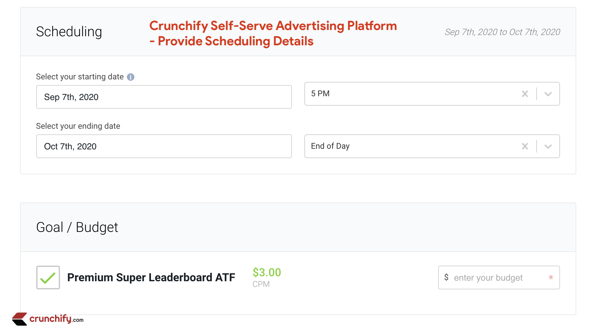 Crunchify Self-Serve Advertising - Scheduling and Goal Budget Option