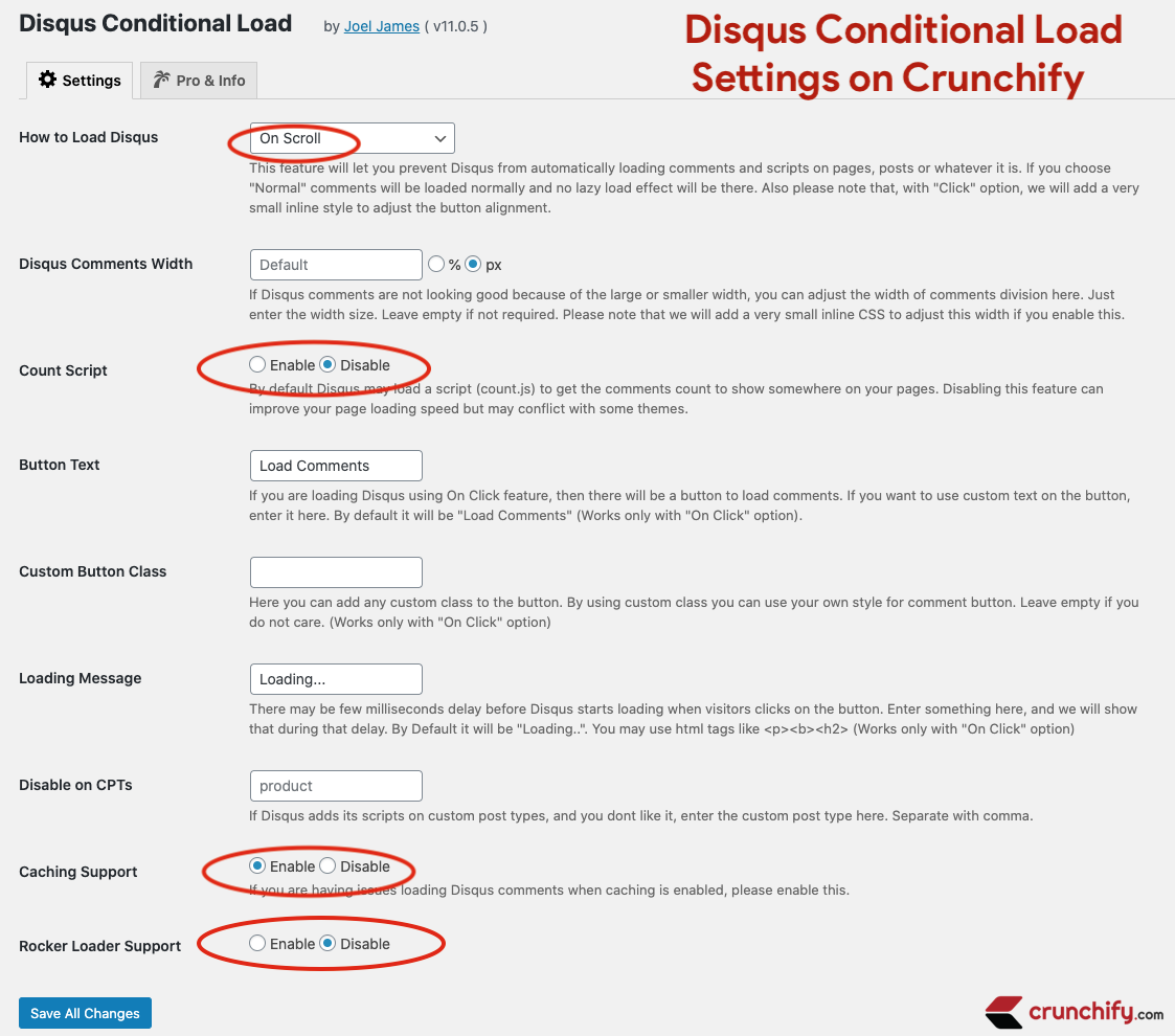 Disqus Conditional Load - WordPress plugin - Settings on Crunchify