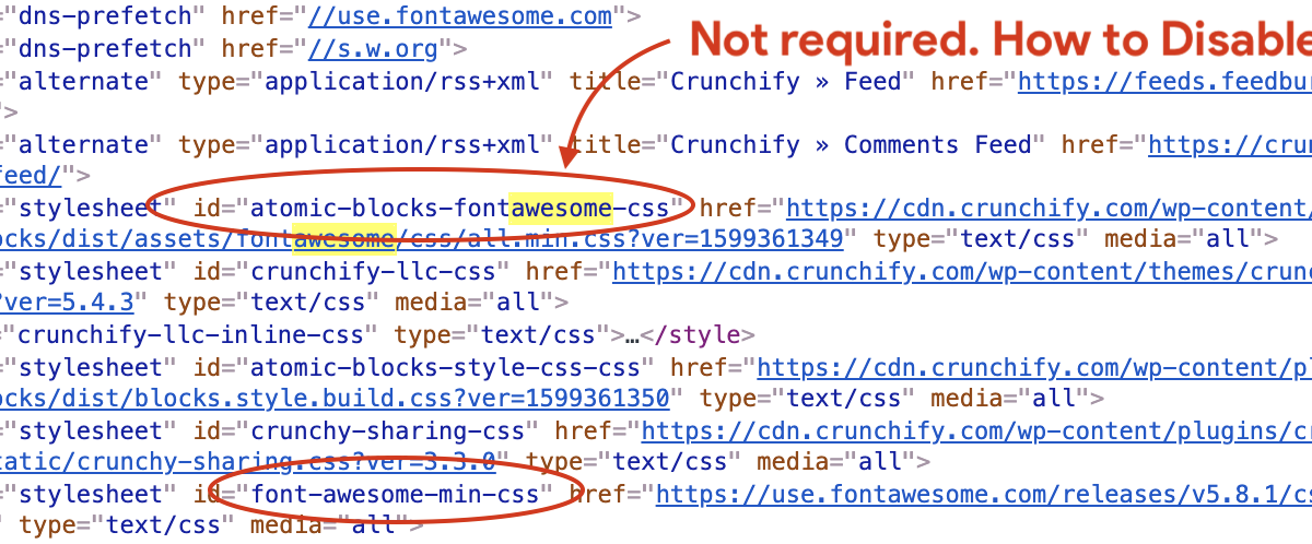 How to disable loading Atomic Blocks FontAwesome CSS if not in use