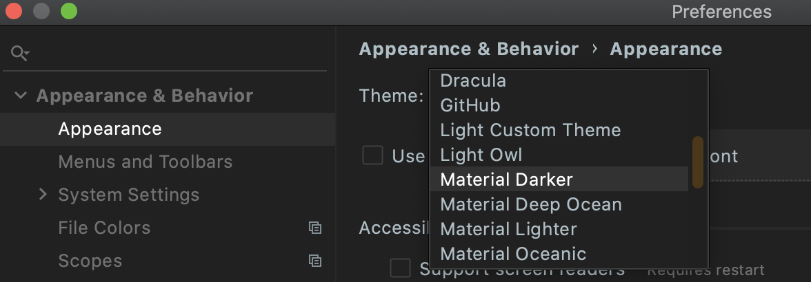 IntelliJ IDEA - change theme option