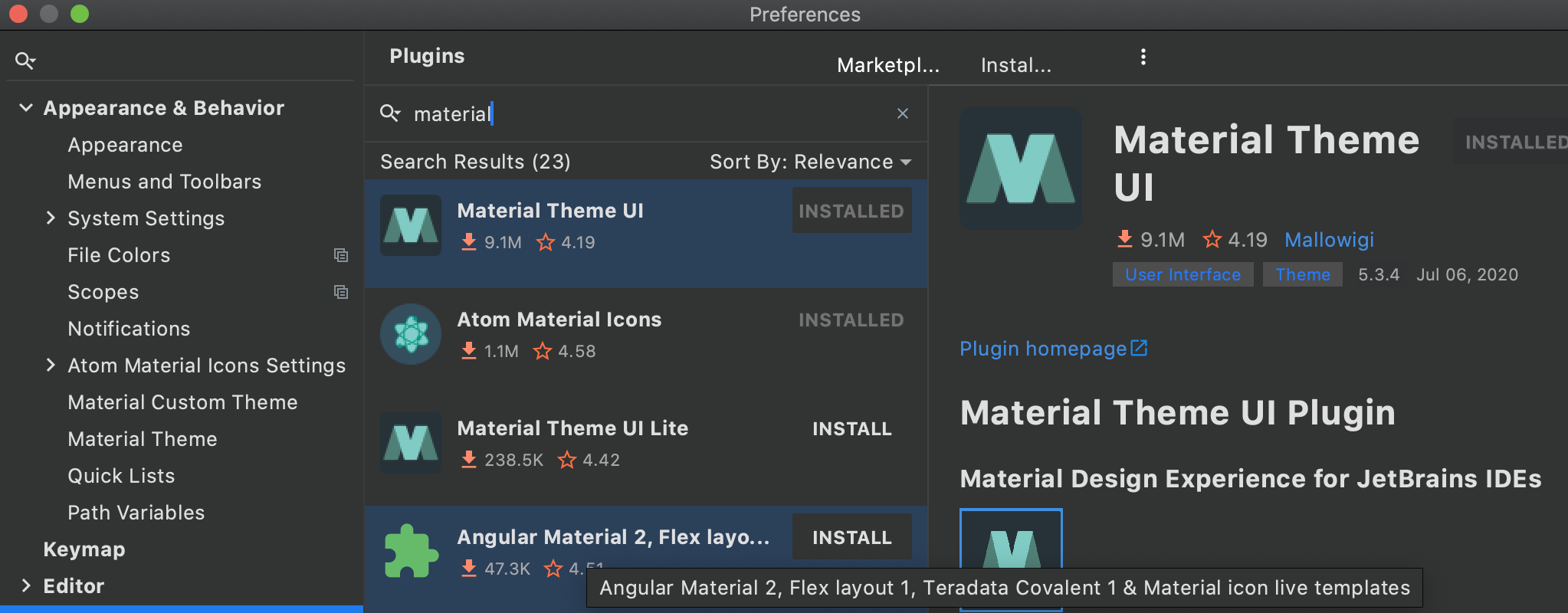 IntelliJ IDEA - install and activate Material Theme UI