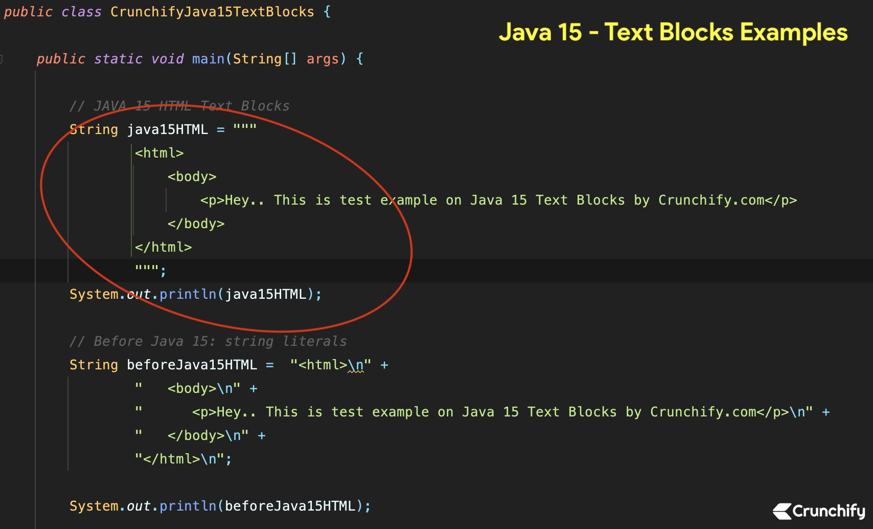 Java 15 - Text Blocks Examples by Crunchify.com