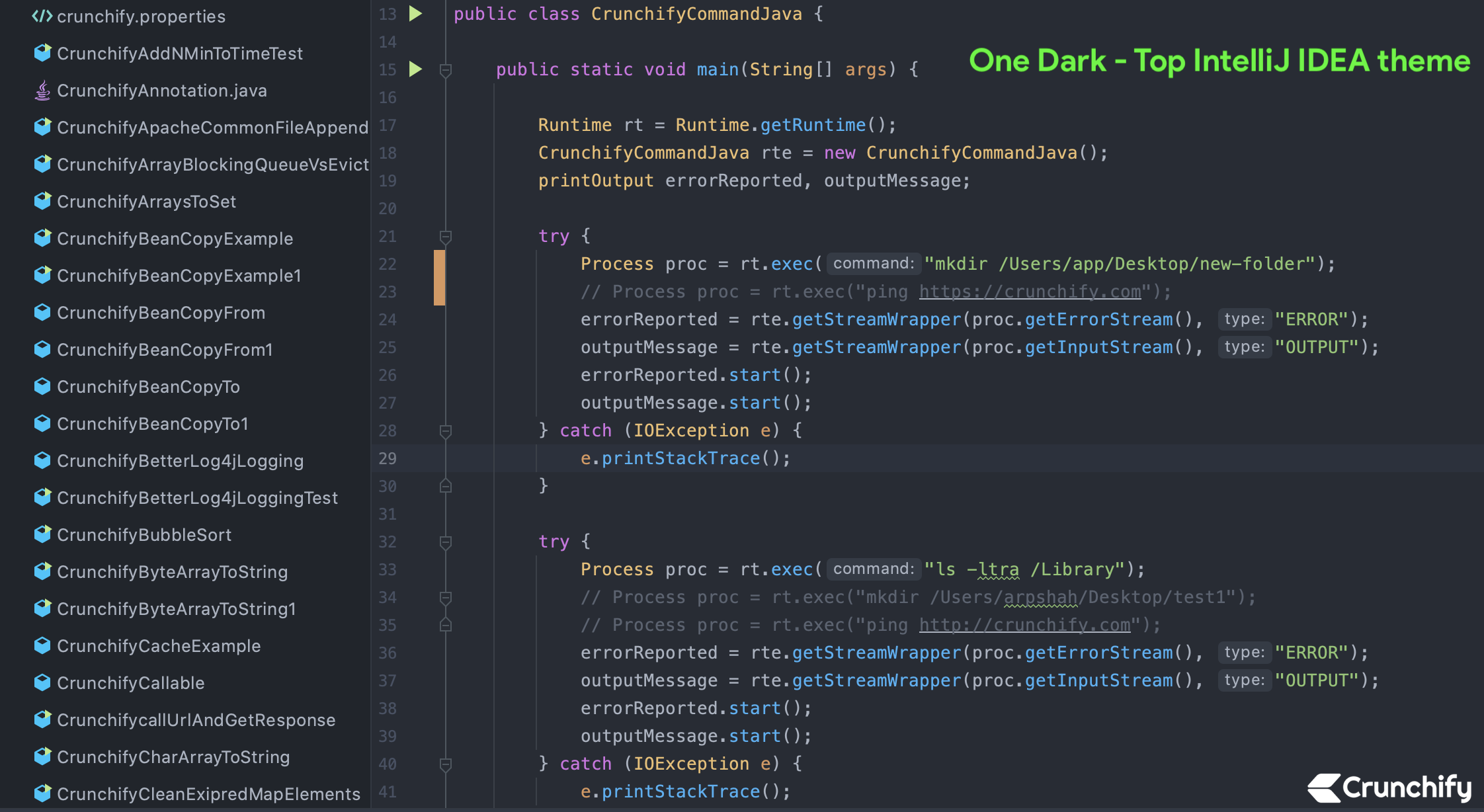 Top IntelliJ IDEA theme - one dark theme