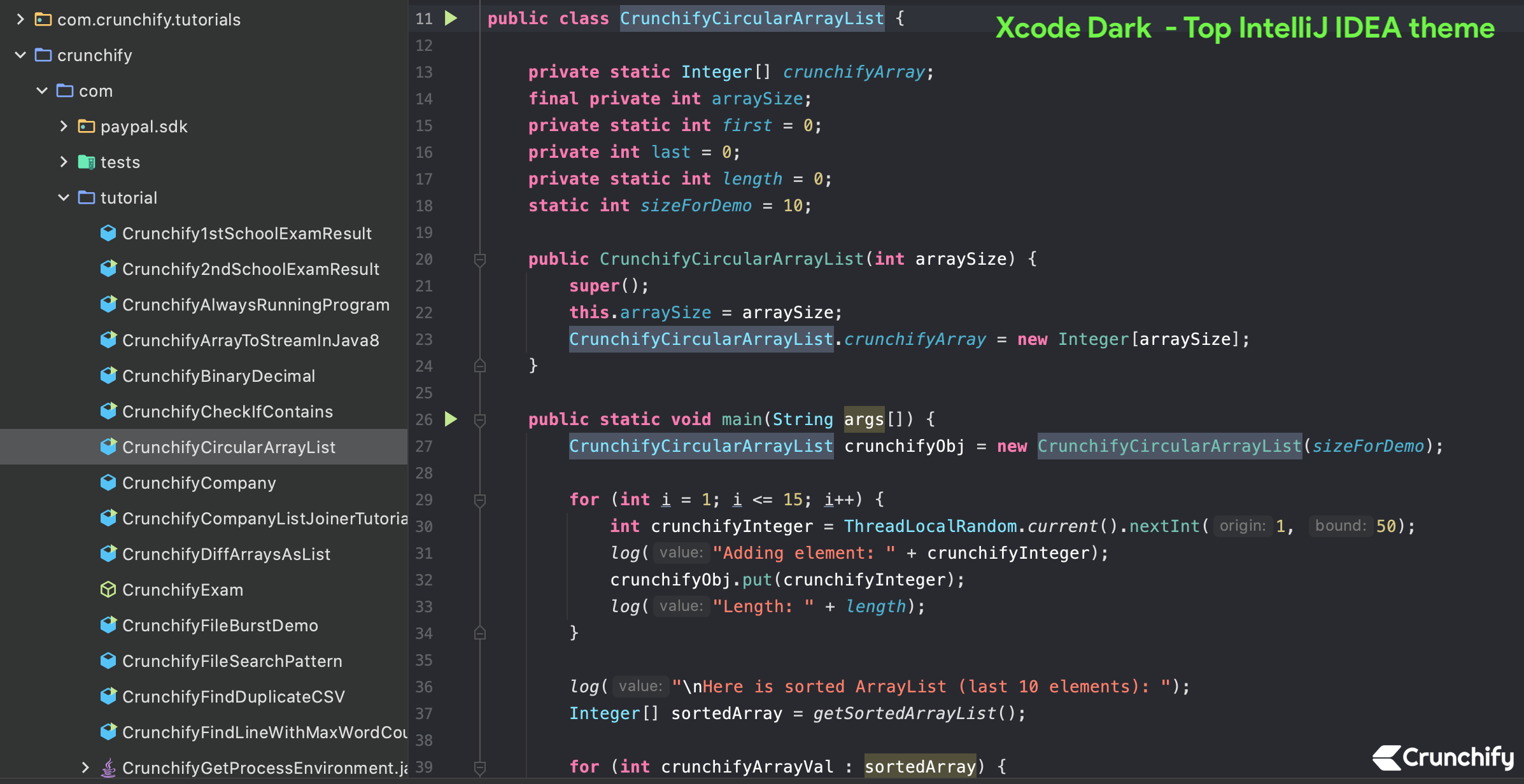Top IntelliJ IDEA theme - xcode dark theme