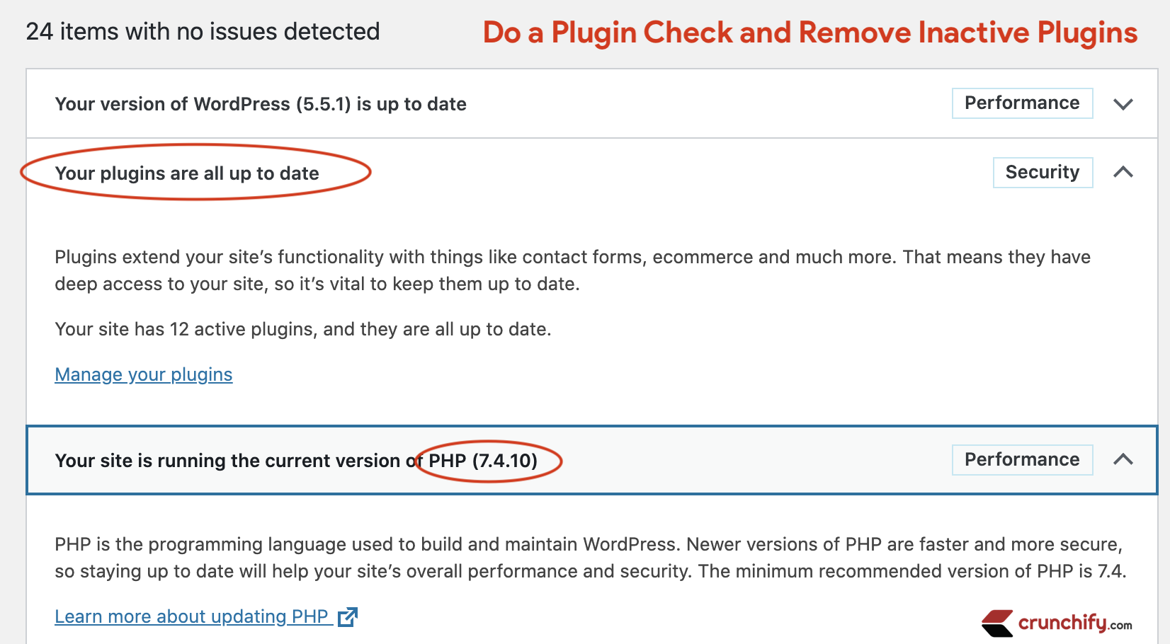 Do a Plugin Check and Remove Inactive Plugins