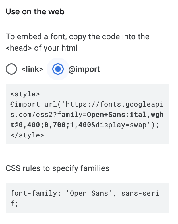 Add Open Sans font to your WordPress site using Import