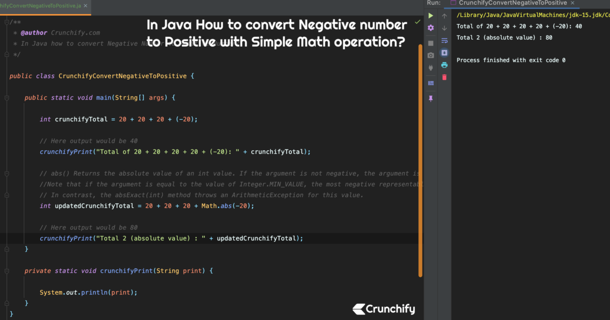 In Java How to convert Negative number to Positive with Simple Math operation