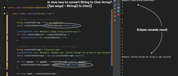 In Java how to convert String to Char Array? (Two ways) - String() to Char[]
