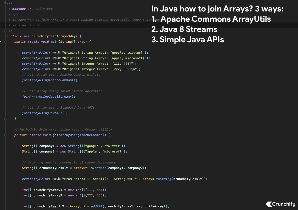 In Java how to join Arrays? 3 ways - Apache Commons ArrayUtils, Java 8 Streams and Simple APIs