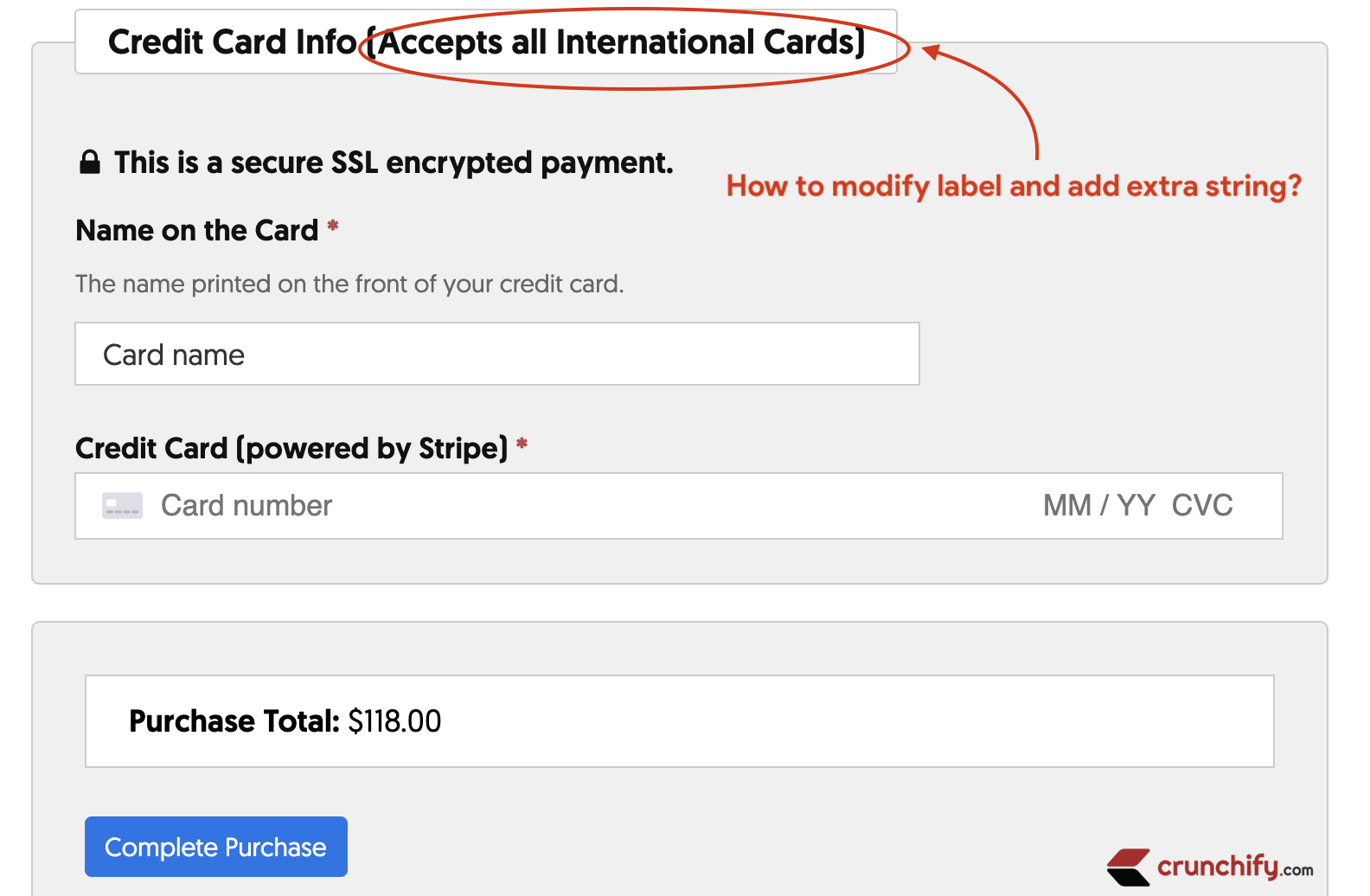 Modify text from Credit Card Info to Credit Card Info (Accepts all International Cards)