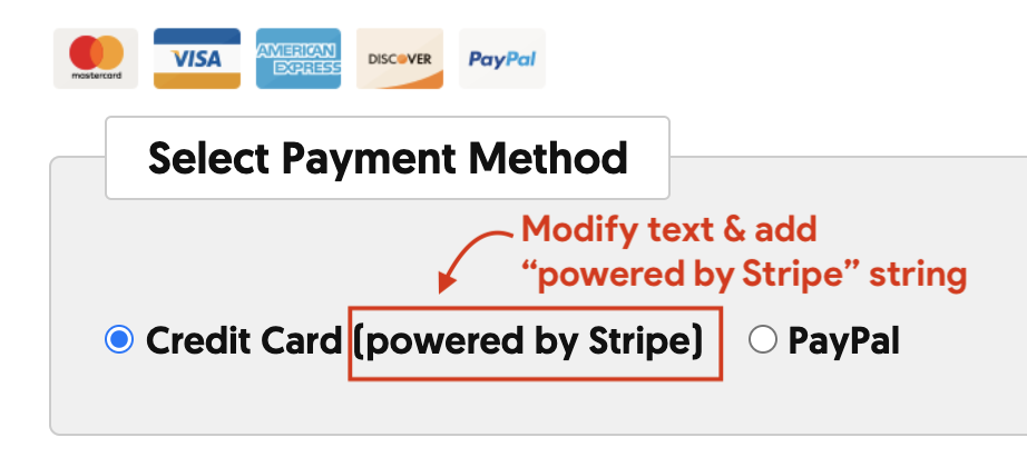 Modify text from Credit card to Credit card (Powered by Stripe)