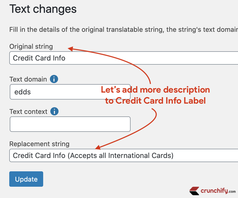 Say What plugin - change Credit Card Info string