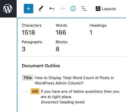 WordPress Post Insight - paragraph, word count. characters and so on - Crunchify Tips