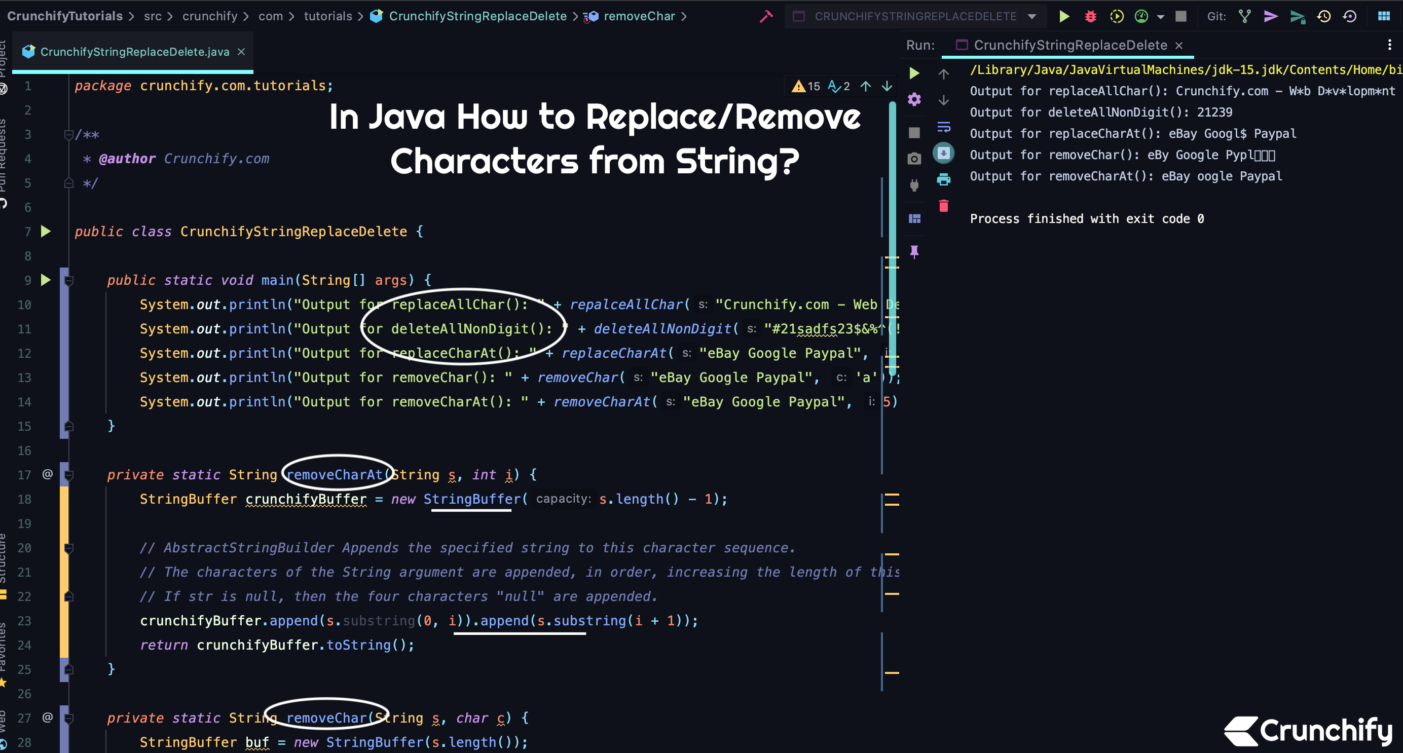 In Java How to Replace/Remove Characters from String?