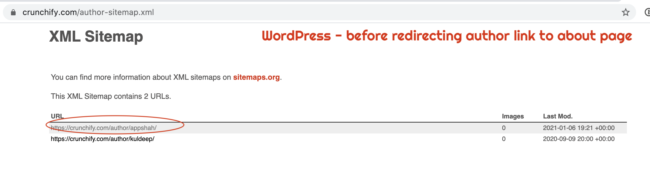 WordPress - before redirecting author link to about page