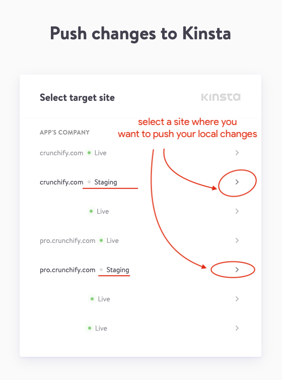 Crunchify and DevKinsta - select your site and push it to your staging site
