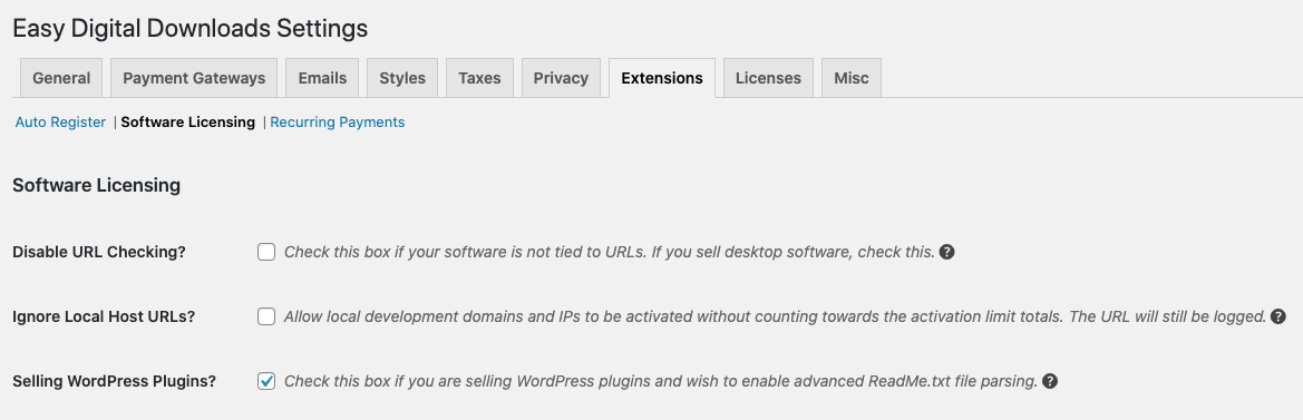 Easy Digital Downloads - Software Licensing Options