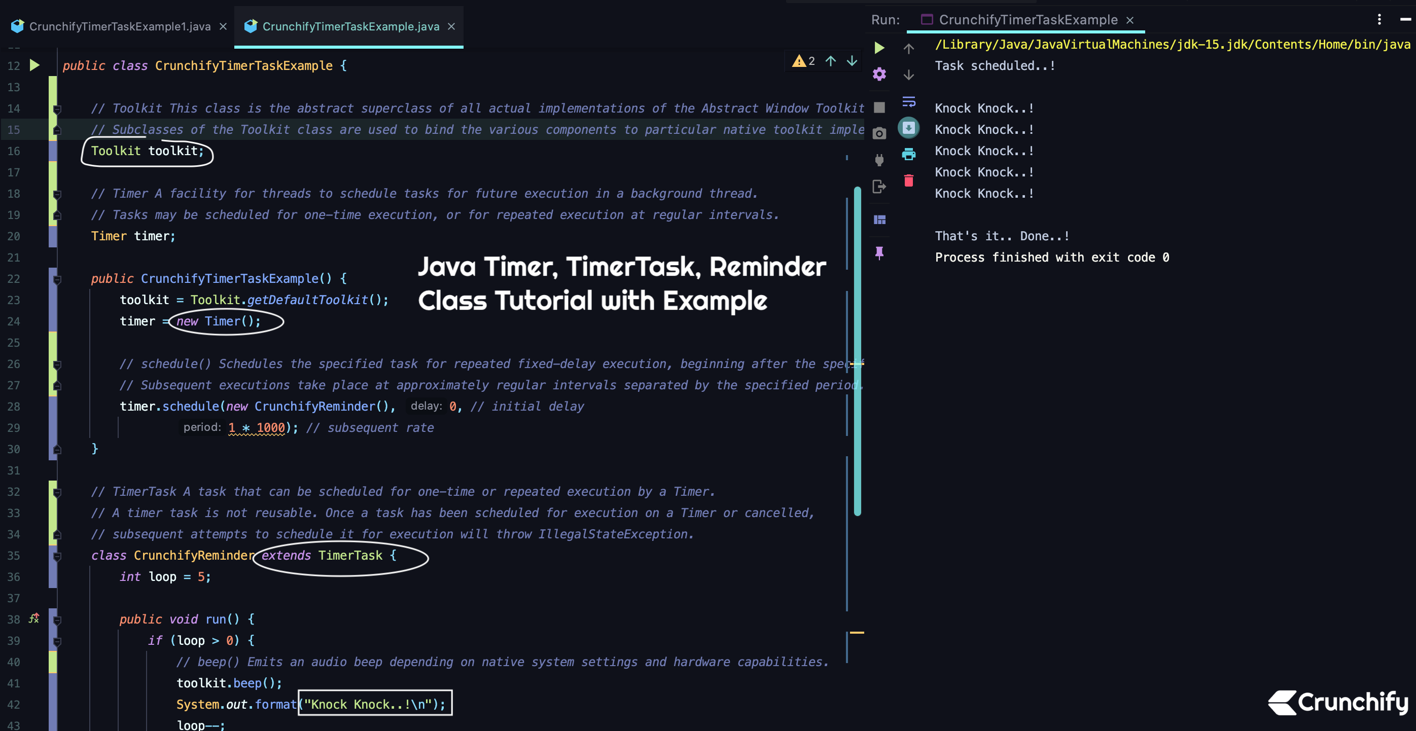 Java Timer, TimerTask, Reminder Class Tutorial with Example