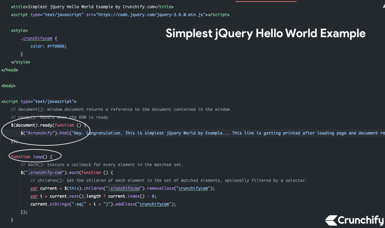 Simplest jQuery Hello World Example