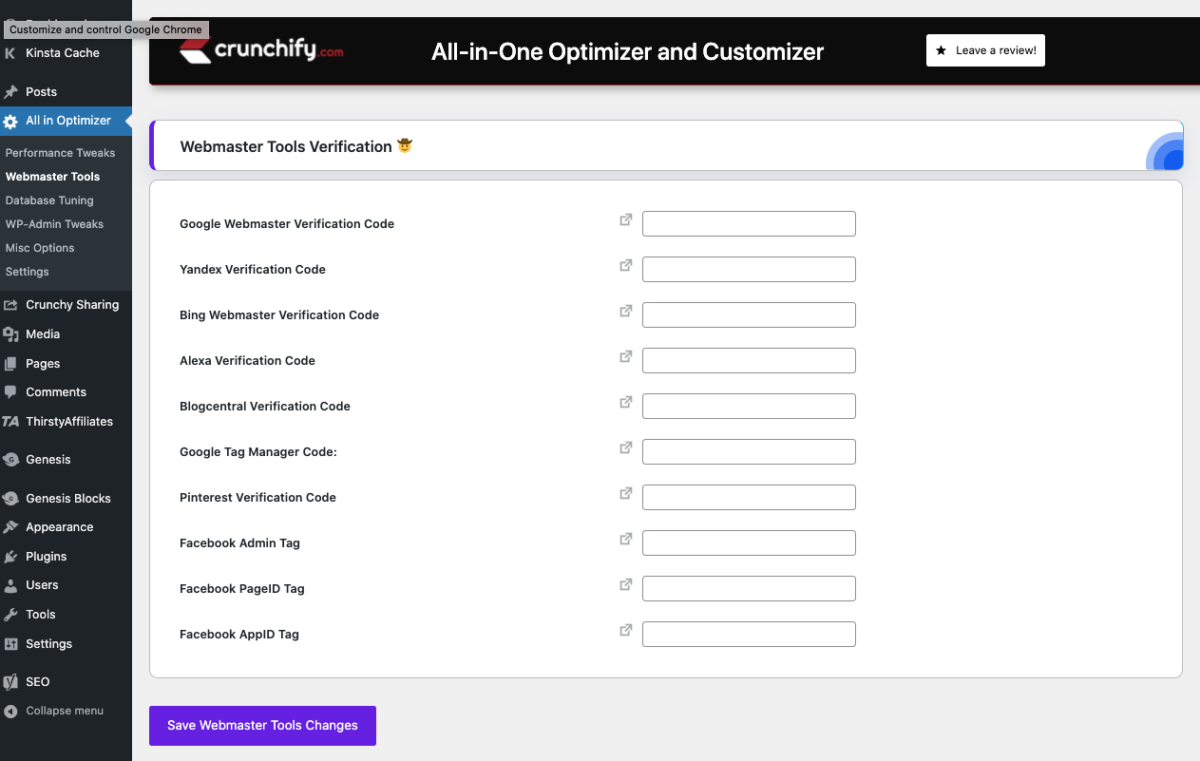 All-in-One Optimizer and Customizer WordPress Plugin Webmaster Tools