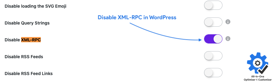 Disable XML RPC using All in One Optimizer and Customizer