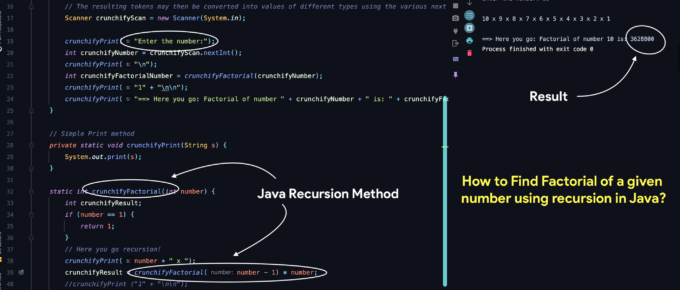 How to Find a Factorial of a given number using recursion in Java?
