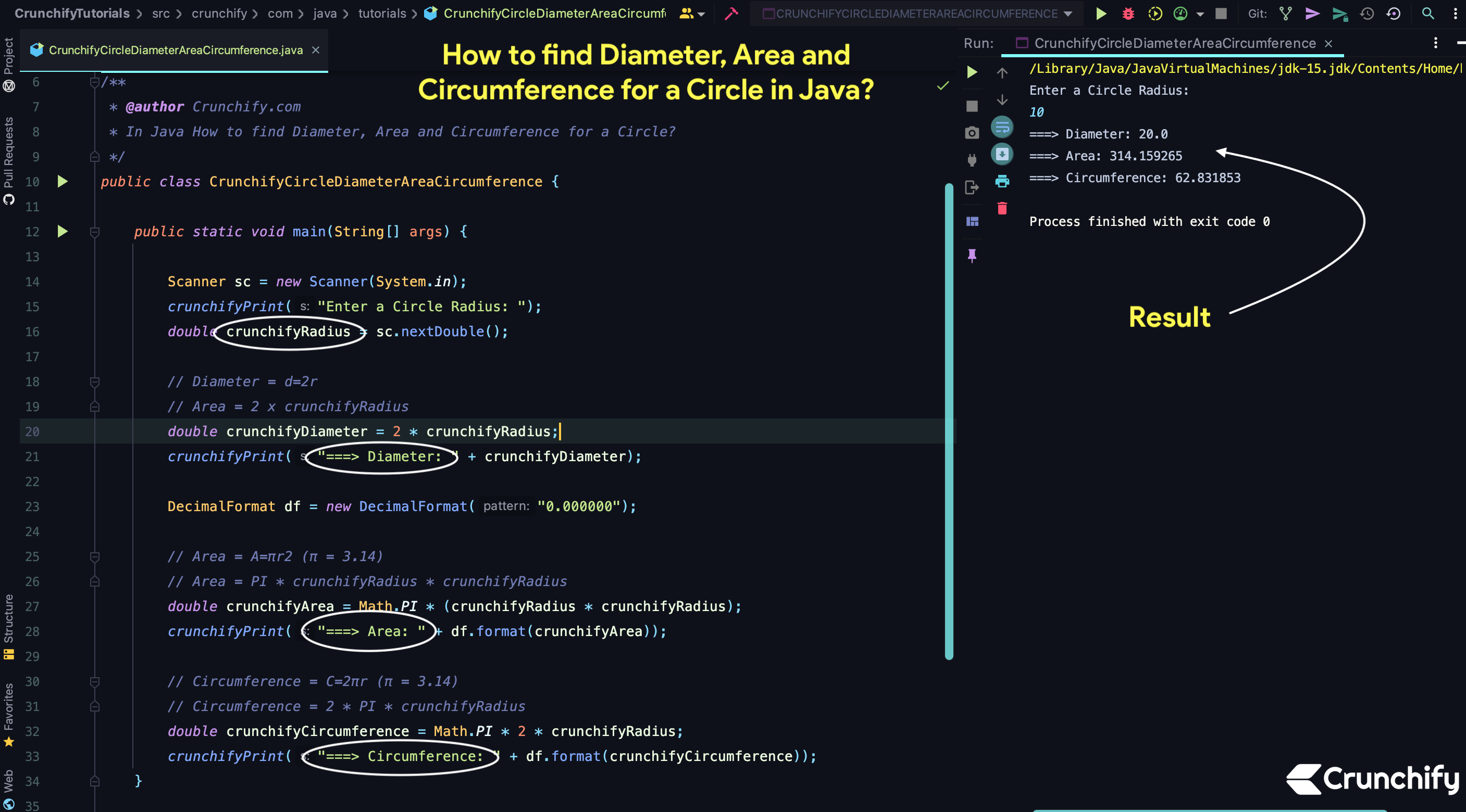 How to find Diameter, Area and Circumference for a Circle in Java?