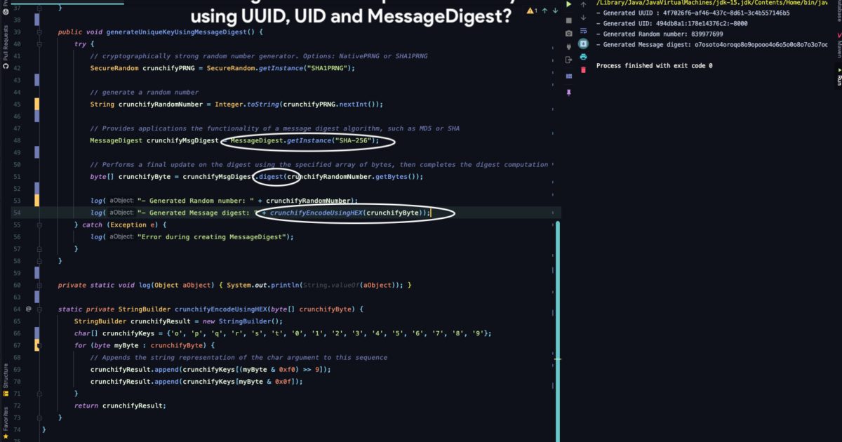 How to generate a unique number:key using UUID, UID and MessageDigest?