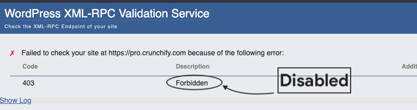 xml rpc is not enabled on crunchify.com and pro.crunchify.com